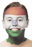 De verf van het gezicht - vlag van India Stock Afbeeldingen