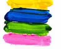 De verfkleur van de hand op papier Stock Afbeeldingen