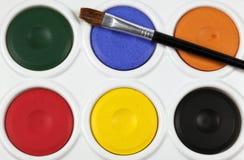 De verfpalet van Watercolour Stock Afbeeldingen