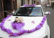 De verfraaide Auto van het Huwelijk Stock Foto
