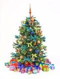 De verfraaide Kerstboom met stelt voor Stock Afbeeldingen