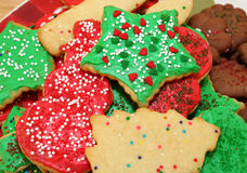 De verfraaide Koekjes van Kerstmis Stock Foto's