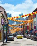 De verfraaide straat van de Chinatown in Singapore royalty-vrije stock fotografie
