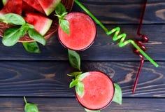 De verfrissende cocktail van de de zomerwatermeloen stock fotografie