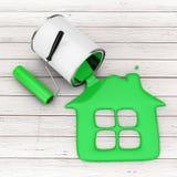 De verfrol dichtbij het Groene Verf Gieten van Verf kan binnenshuis Si stock illustratie