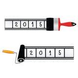 De verfrol en borstelt het jaar van 2015 Stock Afbeelding