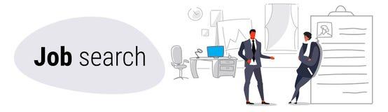 De vergadering die van de zakenmanu manager het mannelijke baan aanvragende leunen op samenvattingsrekrutering en personeelsbaan  vector illustratie
