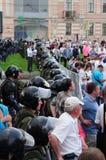 De vergadering van de oppositie in dag van Rusland op prospec Stock Foto