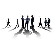 De Vergaderingscityscape silhouet van de Bedrijfsmensenbespreking Concept stock fotografie