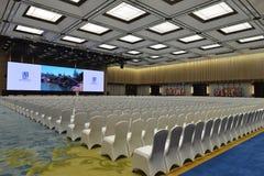 De vergaderingszaal in het Internationale de Overeenkomst en de Tentoonstellingscentrum van Wuzhen Internet royalty-vrije stock foto