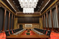 De vergaderzaal in het Internationale de Overeenkomst en de Tentoonstellingscentrum van Wuzhen Internet royalty-vrije stock foto