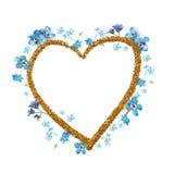 De vergeet-mij-nietjewaterverf bloeit hartkader met gouden contour Royalty-vrije Stock Foto's