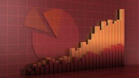 De vergelijking van de grafiek en cirkeldiagram op vierkant net Stock Foto