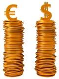 De vergelijking van de munt - de dollar en de Euro van de V.S. Stock Afbeelding