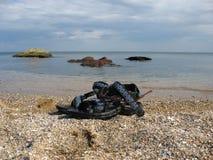 De vergeten dingen op het strand Stock Foto's