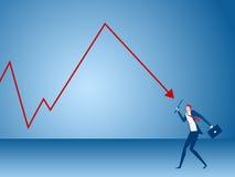 De vergrootglazen van de zakenmanholding analyseren grafiek Het concept van de analyseinvestering Stock Afbeelding