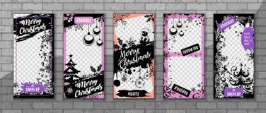 De Verhalenmalplaatjes van Kerstmisinstagram royalty-vrije stock afbeelding