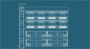 De verhogingshigh-rise van de architectuurtekening de bouwingang Stock Afbeelding