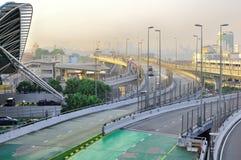 De verhoogde weg die Maleisië en Singapore verbindt Stock Fotografie