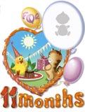 De verjaardag, elaven maand voor baby Stock Afbeelding