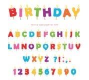 De verjaardag schouwt kleurrijk doopvontontwerp De heldere feestelijke die letters en de getallen van ABC op wit worden geïsoleer Stock Afbeelding