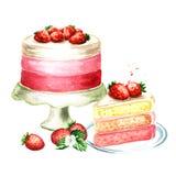 De verjaardag van de aardbeicake of huwelijkssamenstelling Waterverfhand getrokken die illustratie, op witte achtergrond wordt ge Royalty-vrije Stock Fotografie