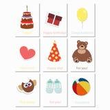 De verjaardag van babykaarten voor een jongen Stock Foto