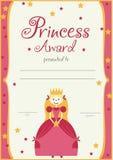 De verjaardag van de prinsesmeisjes van het certificaatmalplaatje Stock Foto's