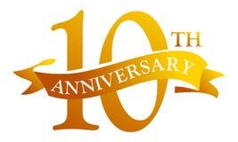 10 de Verjaardag van het jaarlint stock afbeelding