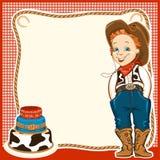 De verjaardagsachtergrond van het cowboykind met cake Stock Afbeeldingen