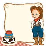 De verjaardagsachtergrond van het cowboykind met cake Stock Fotografie