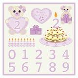 De verjaardagscake en meisje van de kaars het vector Leuke baby dragen vectorillustratie met hart en van het aantallensymbool de  stock illustratie