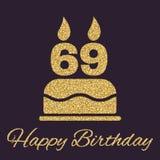 De verjaardagscake met kaarsen in de vorm van nummer 69 pictogram verjaardagssymbool De gouden fonkelingen en schitteren Stock Fotografie