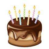 De verjaardagscake van de chocolade met kaarsen Vector illustratie Stock Foto