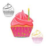 De verjaardagskaars cupcake plaatste Royalty-vrije Stock Afbeelding