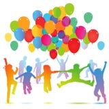 De verjaardagspartij van kinderen met ballons Stock Foto