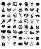 De verjaardagspictogrammen van de vieringspartij Stock Foto's