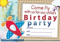 De verjaardagsuitnodiging Nr 1 van het luchtvliegtuig Stock Foto