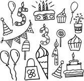 De verjaardagsviering schrijft vectorpictogrammen toe Stock Foto's