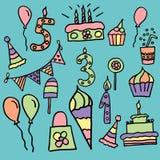De verjaardagsviering schrijft vectorpictogrammen toe Stock Afbeeldingen