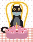 De verjaardagsviering van de kat Stock Afbeeldingen
