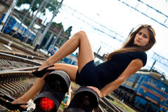 De verkeerslichten van het meisje Royalty-vrije Stock Afbeeldingen