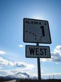 De verkeersteken van Alaska op Glenn Highway Stock Afbeelding