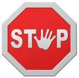 De verkeersteken van de de halt het rode waarschuwing van het einde ophouden royalty-vrije illustratie