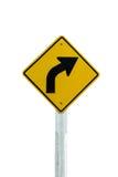 De verkeersteken van de draai juiste die Pijl op witte achtergrond worden geïsoleerd royalty-vrije stock foto's