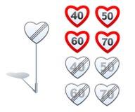 De verkeersteken van de hartvorm - grenzen en derestrictions Royalty-vrije Stock Afbeeldingen