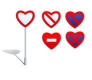 De verkeersteken van de hartvorm - verbodstekens Royalty-vrije Stock Afbeeldingen