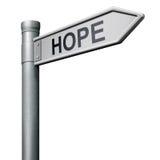 De verkeersteken van de hoop aan rooskleurige toekomst Stock Foto's