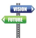 De verkeersteken van de richting met visie toekomstige woorden stock illustratie