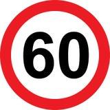 60 de verkeersteken van de snelheidsbeperking Royalty-vrije Stock Afbeeldingen